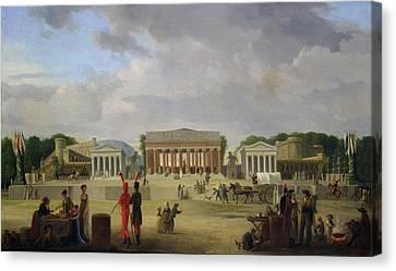 View Of The Grand Theatre Constructed In The Place De La Concorde For The Fete De La Paix Canvas Print by Jean Baptiste Louis Cazin