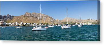 View Of The Marina To Port De Pollenca Canvas Print by Panoramic Images