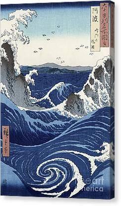 View Of The Naruto Whirlpools At Awa Canvas Print by Hiroshige