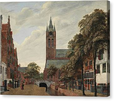 View Of The Oude Delft Canal Canvas Print by Jan Van der Heyden
