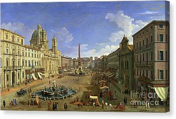 View Of The Piazza Navona Canvas Print by Canaletto
