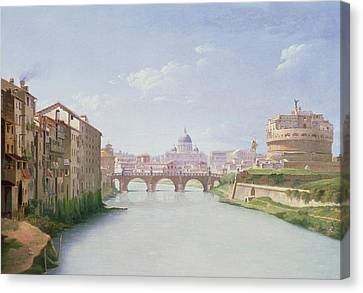 View Of The Ponte And Castel Sant'angelo In Rome Canvas Print by Christoffer-Wilhelm Eckersberg