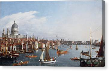 View Of The River Thames With St Paul's And Old London Bridge   Canvas Print by William James