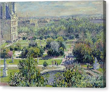 View Of The Tuileries Gardens Canvas Print by Claude Monet
