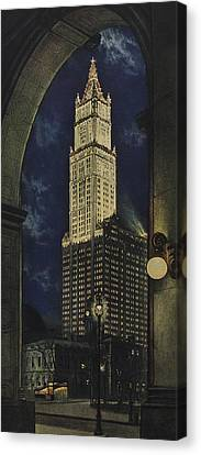 View Of The Woolworth Building Canvas Print by American School