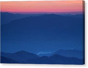 View Towards Fontana Lake At Sunset Canvas Print by Andrew Soundarajan
