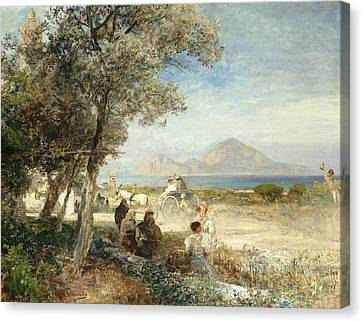 Views Of The Gulf Of Naples Canvas Print by Oswald Achenbach