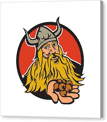 Viking Handing Hazelnut Circle Retro Canvas Print by Aloysius Patrimonio