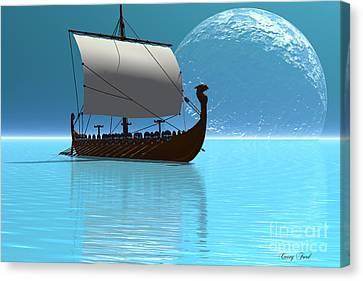 Viking Ship 2 Canvas Print by Corey Ford