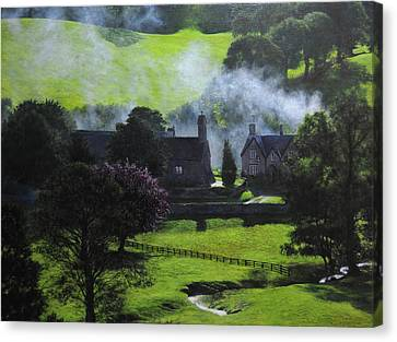 Village In North Wales Canvas Print by Harry Robertson