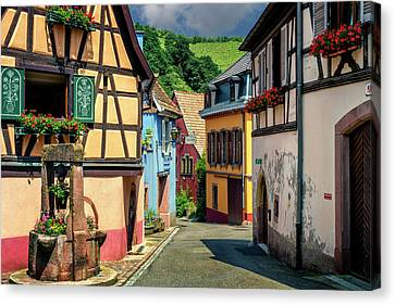 Village Lane Alsace France_dsc7981_16 Canvas Print by Greg Kluempers