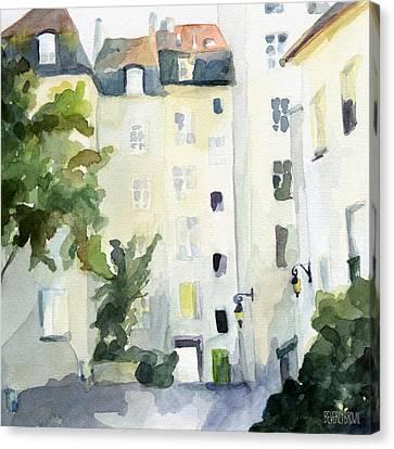 Village Saint Paul Watercolor Painting Of Paris Canvas Print by Beverly Brown Prints
