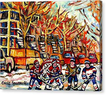 Villeneuve Steps Street Hockey Montreal Memories Row Houses Winter City Scene Canadian Hockey Art Canvas Print by Carole Spandau