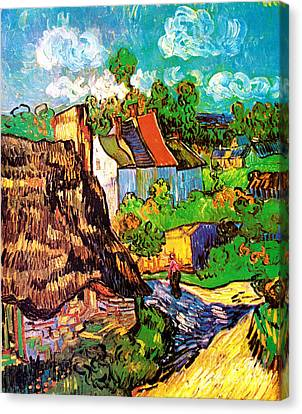 Vincent Van Gogh Houses At Auvers  Canvas Print by Pg Reproductions
