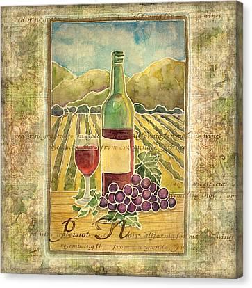 Vineyard Pinot Noir Grapes N Wine - Batik Style Canvas Print by Audrey Jeanne Roberts