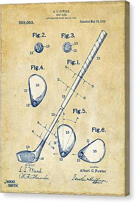 Vintage 1910 Golf Club Patent Artwork Canvas Print by Nikki Marie Smith