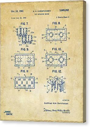 Vintage 1961 Lego Brick Patent Art Canvas Print by Nikki Marie Smith