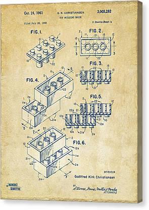 Vintage 1961 Toy Building Brick Patent Art Canvas Print by Nikki Marie Smith