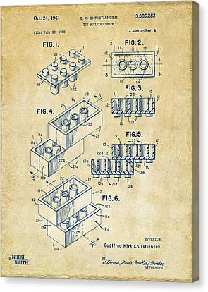 Vintage 1961 Toy Building Brick Patent Art Canvas Print by Nikki Marie Smith