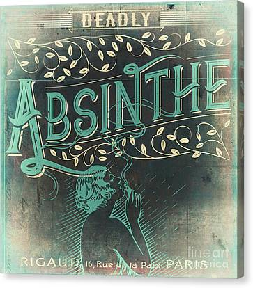 Vintage Absinthe Label Canvas Print by Mindy Sommers