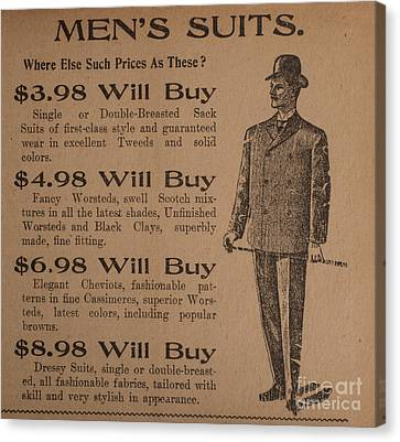Vintage Ad For Men's Suits Canvas Print by Edward Fielding