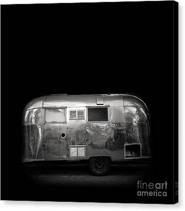 Vintage Airstream Travel Camper Trailer Square Canvas Print by Edward Fielding