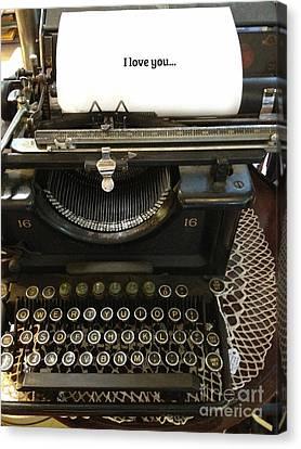 Vintage Antique Typewriter - Inspirational Vintage Typewriter  Canvas Print by Kathy Fornal