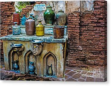 Vintage Antique Water Containers 2 Canvas Print by Gary Keesler