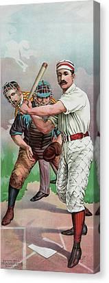 Vintage Baseball Card Canvas Print by American School
