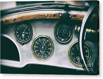 Vintage Bentley Dashboard Canvas Print by Tim Gainey