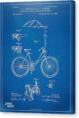 Vintage Bicycle Parasol Patent Artwork 1896 Canvas Print by Nikki Marie Smith