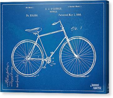 Vintage Bicycle Patent Artwork 1894 Canvas Print by Nikki Marie Smith
