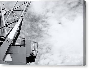 Vintage Black White Harbor Crane Canvas Print by Jan Brons