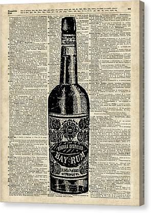 Vintage Bottle Of Rum Over Antique Book Page Canvas Print by Jacob Kuch