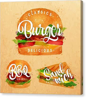 Vintage Burger Canvas Print by Aloke Design