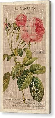 Vintage Burlap Floral 2 Canvas Print by Debbie DeWitt