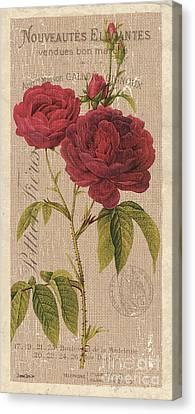 Vintage Burlap Floral 3 Canvas Print by Debbie DeWitt