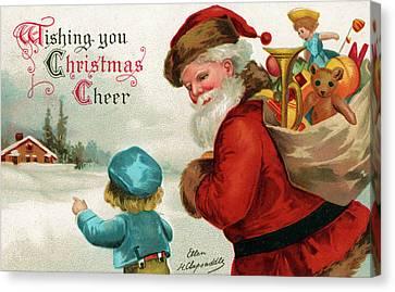Vintage Christmas Card Canvas Print by Ellen Hattie Clapsaddle