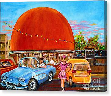 Vintage Classic Cars Painting At The Orange Julep Montreal Diner Canadian Painting Carole Spandau    Canvas Print by Carole Spandau