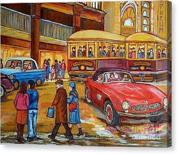 Vintage Classic Cars  Red Convertible Downtown Traffic Montreal Canadian Art Carole Spandau          Canvas Print by Carole Spandau