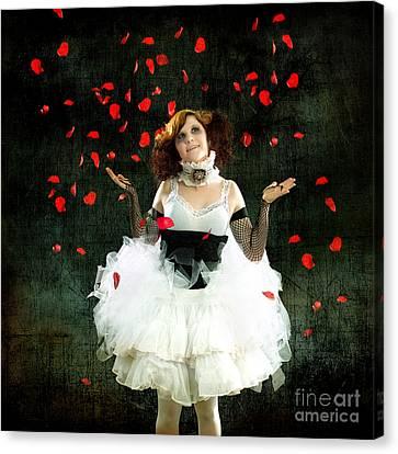 Vintage Dancer Series Raining Rose Petals  Canvas Print by Cindy Singleton