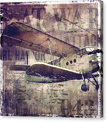 Vintage Fixed Wing Airplane Canvas Print by Mindy Sommers