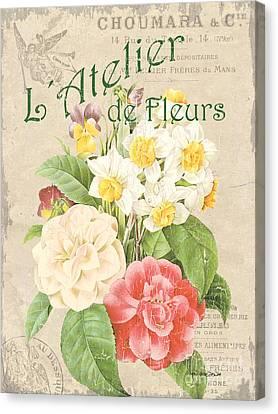 Vintage French Flower Shop 1 Canvas Print by Debbie DeWitt