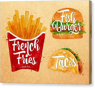 Vintage French Fries Canvas Print by Aloke Design