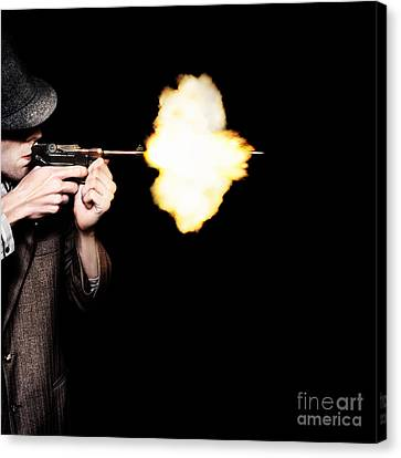 Vintage Gangster Man Shooting Gun On Black Canvas Print by Jorgo Photography - Wall Art Gallery