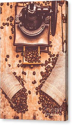 Vintage Grinder With Sacks Of Coffee Beans Canvas Print by Jorgo Photography - Wall Art Gallery