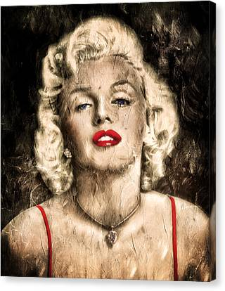 Vintage Grunge Goddess Marilyn Monroe  Canvas Print by Georgiana Romanovna