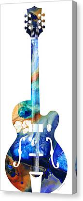 Vintage Guitar - Colorful Abstract Musical Instrument Canvas Print by Sharon Cummings