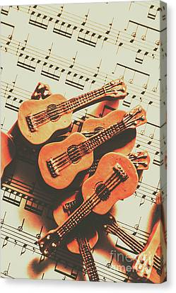 Vintage Guitars On Music Sheet Canvas Print by Jorgo Photography - Wall Art Gallery