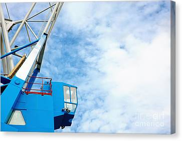 Vintage Harbor Crane Canvas Print by Jan Brons